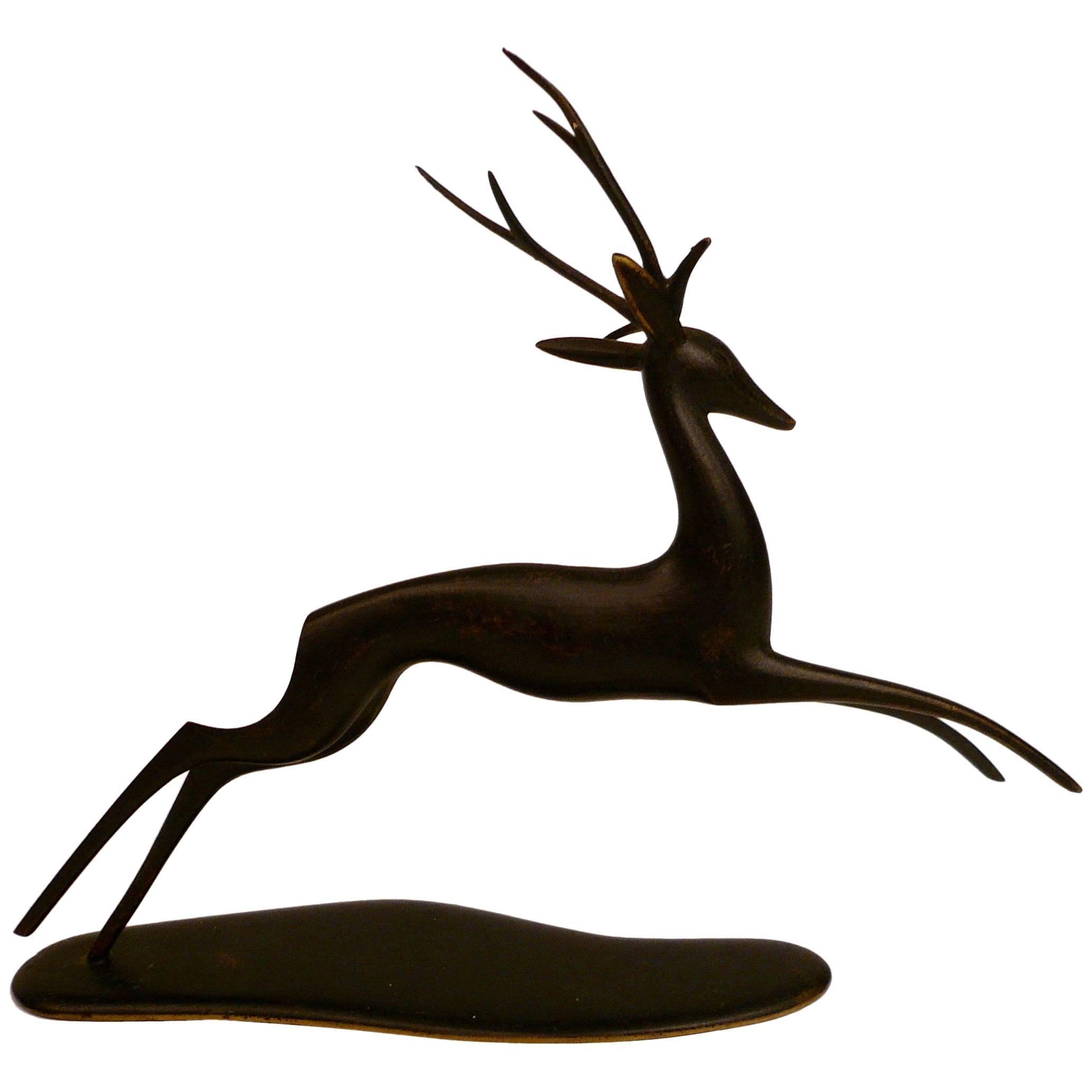 Patinated Bronze Deer Sculpture by Hagenauer