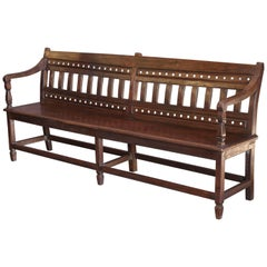 1880s Solid Teak Wood Original Company Bench from the Coastal Office