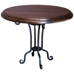 1910s Thick Top Double Beveled Round Table from Tea Plantation