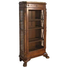 French Empire 19th Century Walnut Bookcase-Cabinet