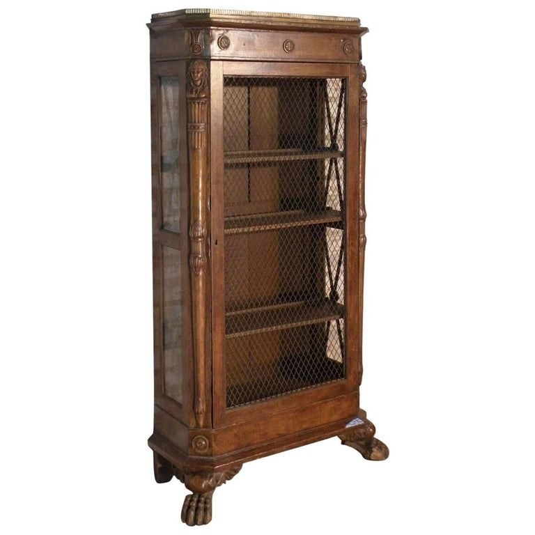 French Empire 19th Century Walnut Bookcase-Cabinet For Sale
