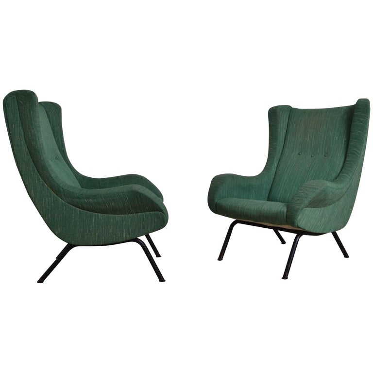 Pair of Wingback Italian Armchairs, 1950