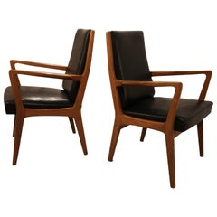 Pair of Leather Scandinavian Style Design Side Chairs