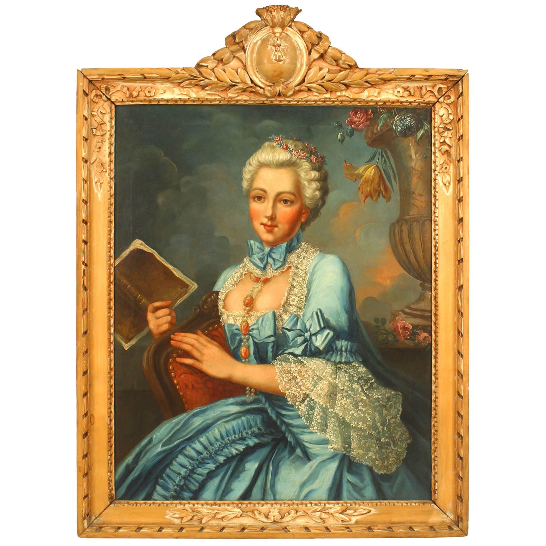 French Louis XVI Lady in Blue Portrait