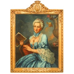French Louis XVI '18th Century' Oil Painting of a Lady in a Blue Dress