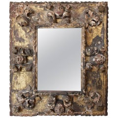 17th Century French Carved and Giltwood Mirror