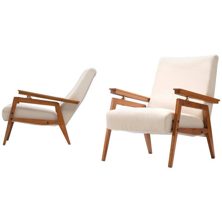 Italian High Back Lounge Chairs, circa 1950