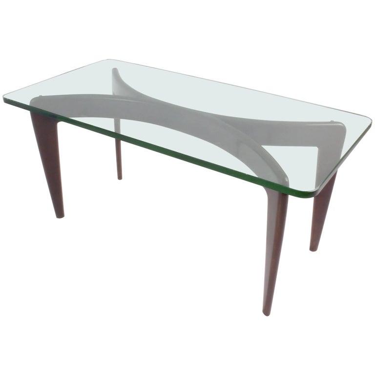 Rare Gio Ponti Mahogany Coffee Table by Fontana Arte with Original Crystal