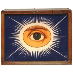 1900s IOOF Odd Fellows All Seeing Eye Light Up Glass Sign