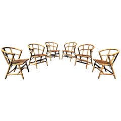 Set of Six Rattan Chairs by Willow and Reed