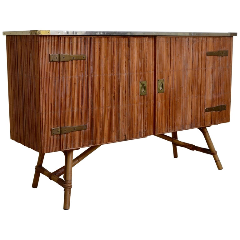 Bamboo and Lacquered Brass Two-Door Cabinet, France, 1950