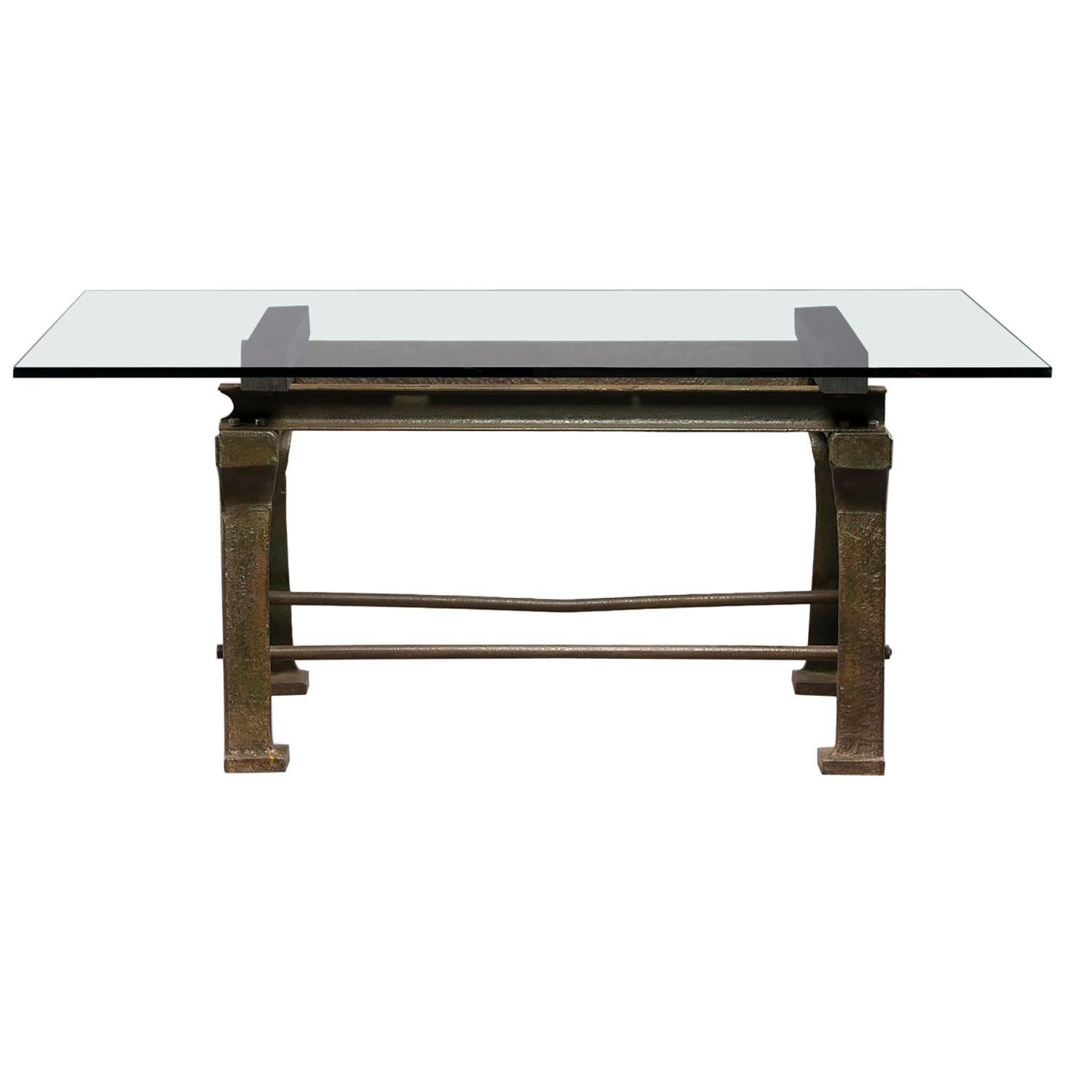 Dining Table with Industrial Iron Base, Original Paint and New Glass Top