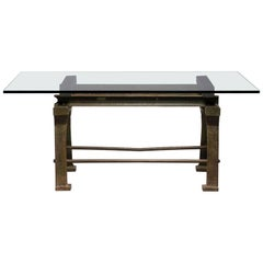 Dining Table with Industrial Iron Base, Original Paint and New Glass Top​