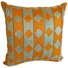 Custom Pillow Cut from a Vintage Silk Phulkari Bagh Wedding Shawl, Punjab, India