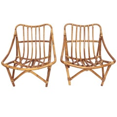Pair of French Bamboo Lounge Armchairs, 1960s