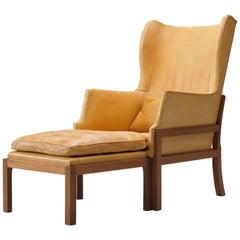 Mogens Koch Wingback Lounge Chair in Mahogany and Cognac Leather