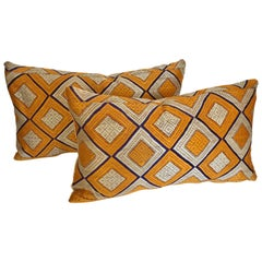 Custom Pillows Cut from a Silk Phulkari Bagh Wedding Shawl, Punjab, India
