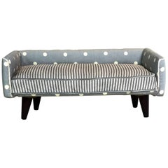 Midcentury Dogbed in Sky-Blue Polka Dot