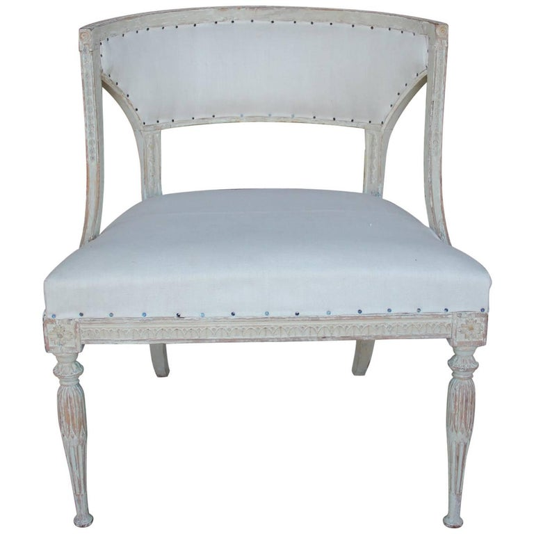 18th Century Swedish Gustavian Period Original Paint Chair Signed Ephraim Stahl For Sale