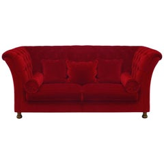 French Victorian Style 'Modern' Red Tufted Velvet Settee