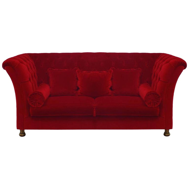 French Victorian Style 'Modern' Red Tufted Velvet Settee For Sale
