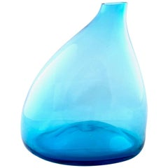 Light Blue Blown Glass Vase in the Style of Toni Zuccheri, Italy, 1970s