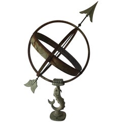 Large Swedish Mid-20th Century Wrought Iron and Copper Garden Sundial