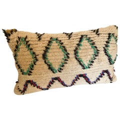 Custom Moroccan Pillow Cut from a Vintage Hand-Loomed Wool Berber Rug