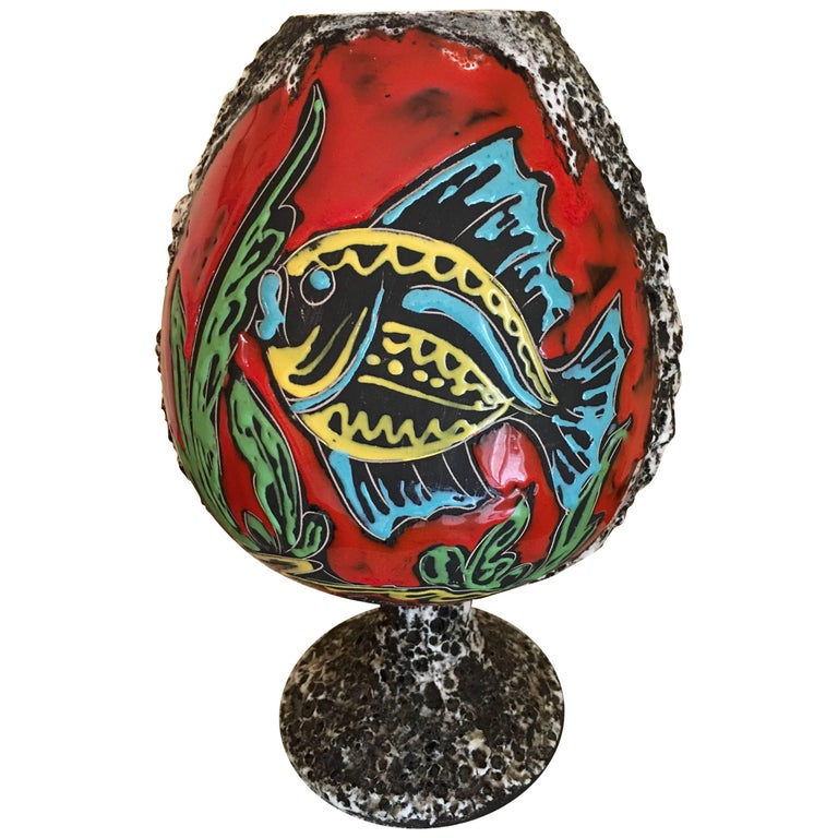French Foam Glaze Ceramic Vase, Hand-Painted Fish Decor 1960s Monaco Signed Pugi