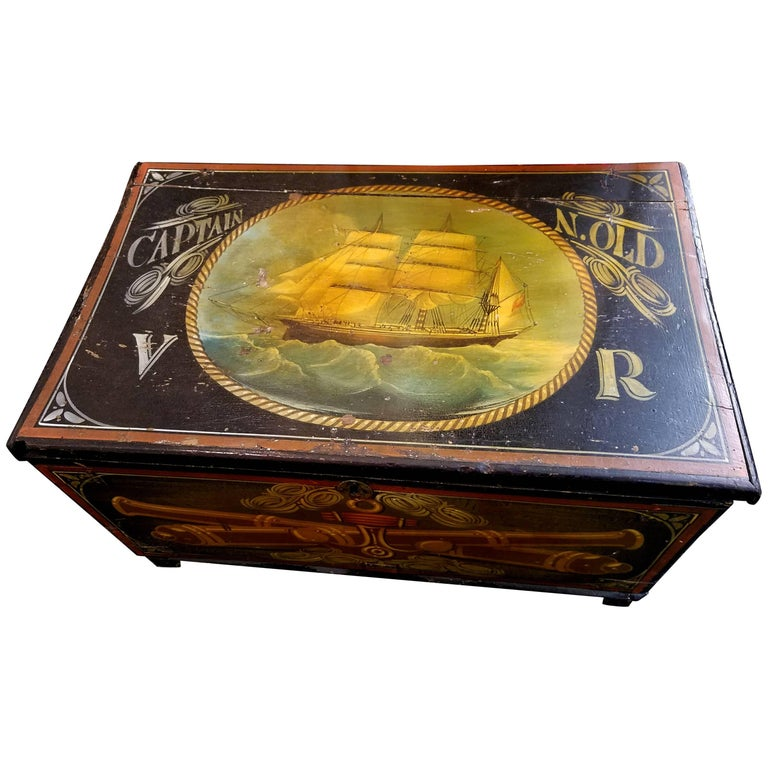 Royal Navy Captain's Sailor's Painted Trunk, Dated 1870