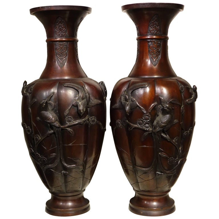 Pair of Bronze Baluster Vases with Red Patina,Japan Meiji Period, 19th Century
