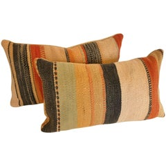 Pair of Custom Moroccan Pillows Cut from a  Hand Loomed Wool Berber Rug