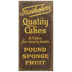 "1900s Tin Advertising Sign ""Freihofer's Quality Cakes"""