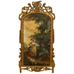 French Louis XVI Oil Painting of a Scene with a Dog and a Young Lady