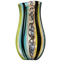 Afro Celotto 1990 Black Green Aqua Blue Crystal Murano Glass Tall Modern Vase