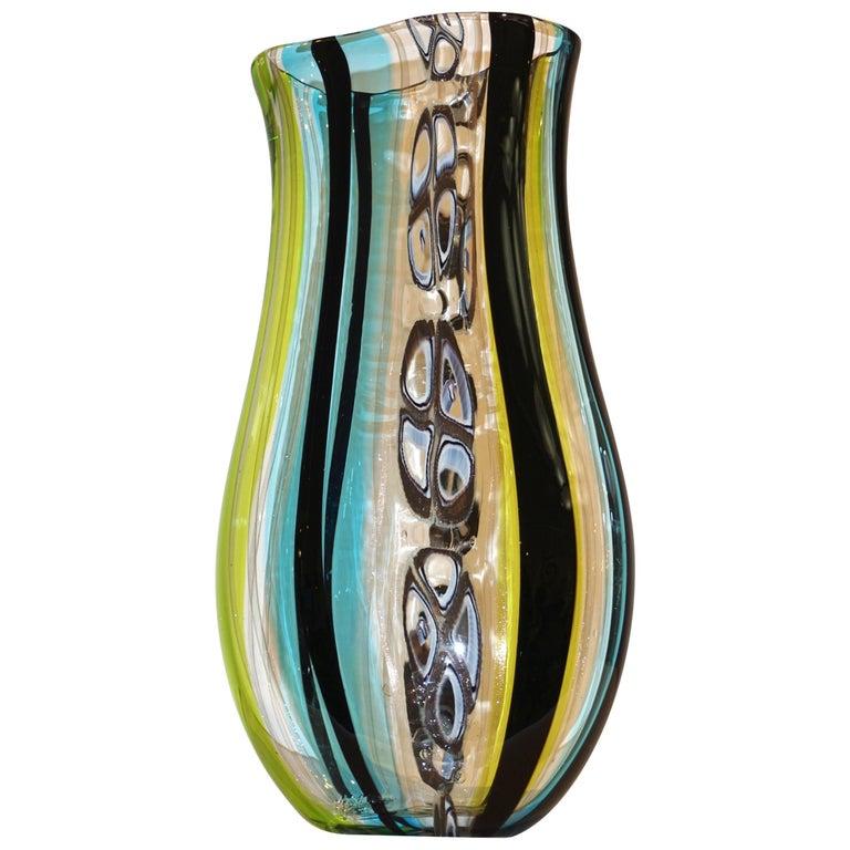 Afro Celotto 1990 Black Green Aqua Blue Crystal Murano Glass Tall Modern Vase