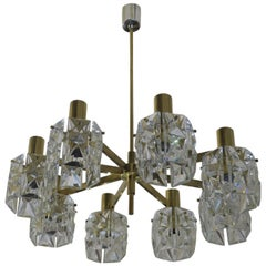 Kinkeldey Midcentury Faceted Crystal and Brass Chandelier, 1960s