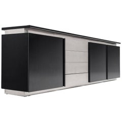 Ludovico Acerbis for Acerbis Sideboard in Stained Oak and Aluminium