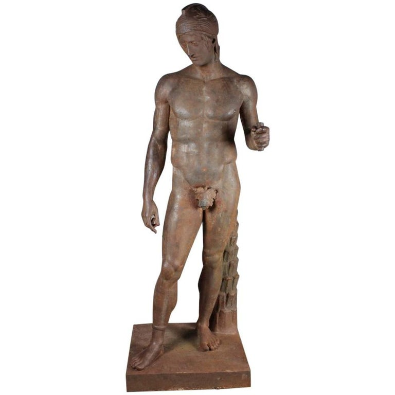 Monumental Iron Statue of a Classical Greek or Roman Male Nude, 19th Century