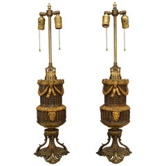 Pair of French Louis XVI Style Bronze and Gilt Trimmed Table Lamps