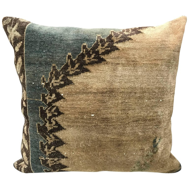 20th Century Turkish Green and Khaki Rug Fragment Pillow For Sale