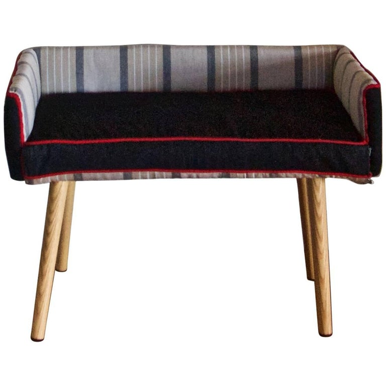 Mid-Century Modern Style Kids Room Seat in Stripes and Black Denim