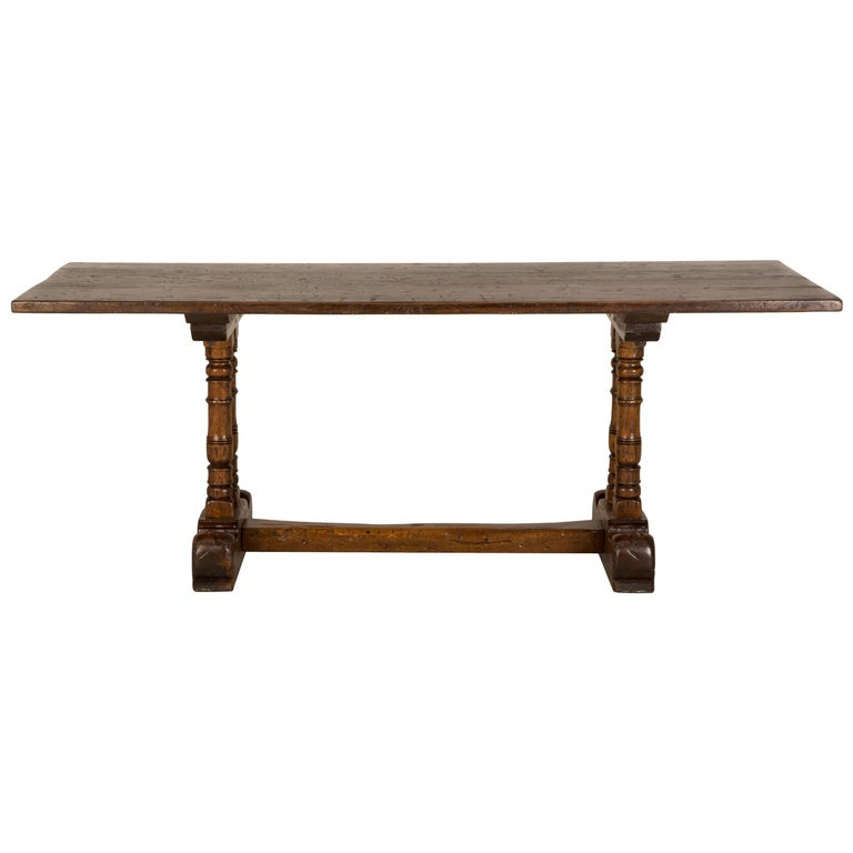 Antique French Trestle Dining Table In Solid Oak Circa 1700s For