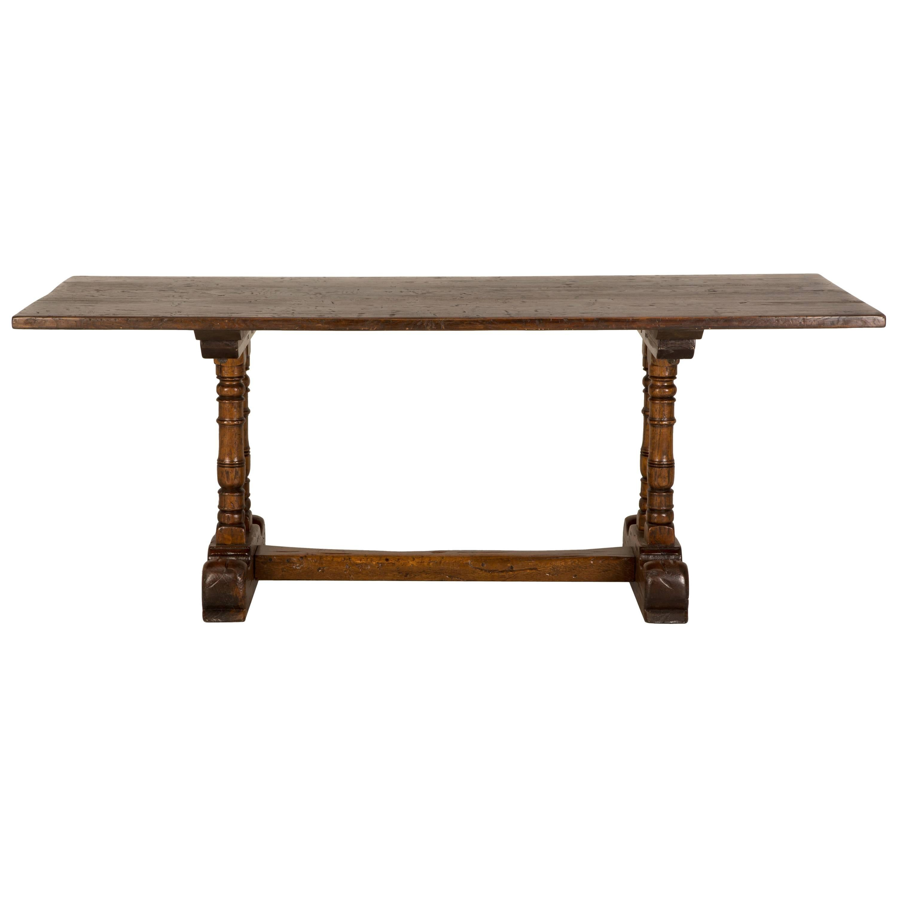 Antique French Trestle Dining Table In Solid Oak, Circa 1700s