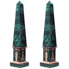 Pair of French Empire Style '19th Century' Malachite Veneered Obelisks