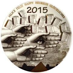 Barnaba Fornasetti Porcelain Calendar Plate 2015, Number 150 of 700 Made