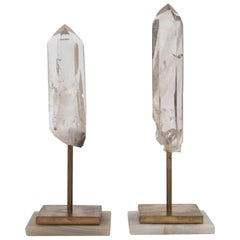Pair of Rock Crystal Points on Stands