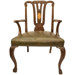 18th Century George III Mahogany  English Chippendale   Desk Armchair