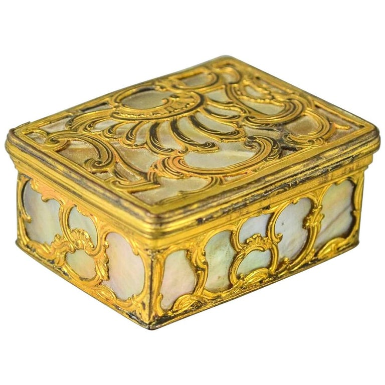 18th Century French Gilt Bronze and Mother-of-Pearl Snuff Box