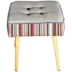 Midcentury Style Gray Wool Footstool with Colorful Stripes and Buttons